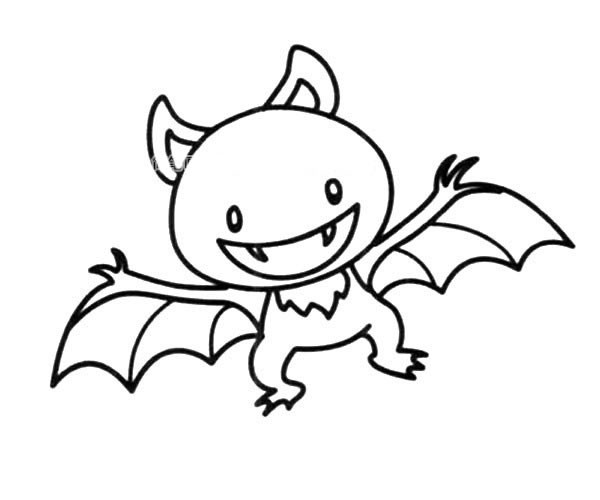 吸血蝙蝠简笔画图片_卡通蝙蝠如何画