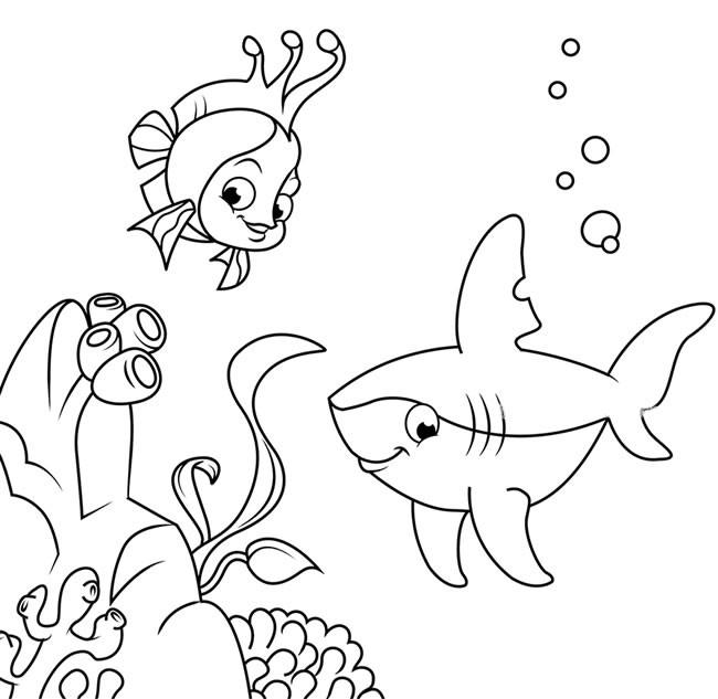 海底世界简笔画之珊瑚鱼和鲨鱼的画法_儿童海底世界简笔画