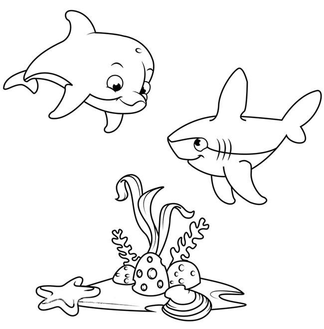 海底世界简笔画之可爱的海豚和鲨鱼的简单画法