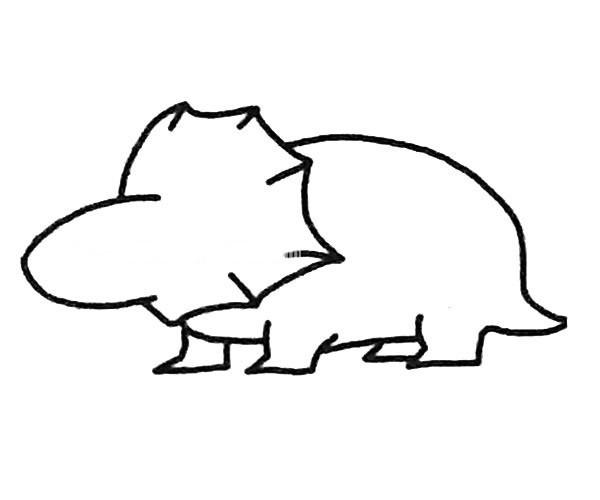 三角龙简笔画步骤图解 三角恐龙的简单画法