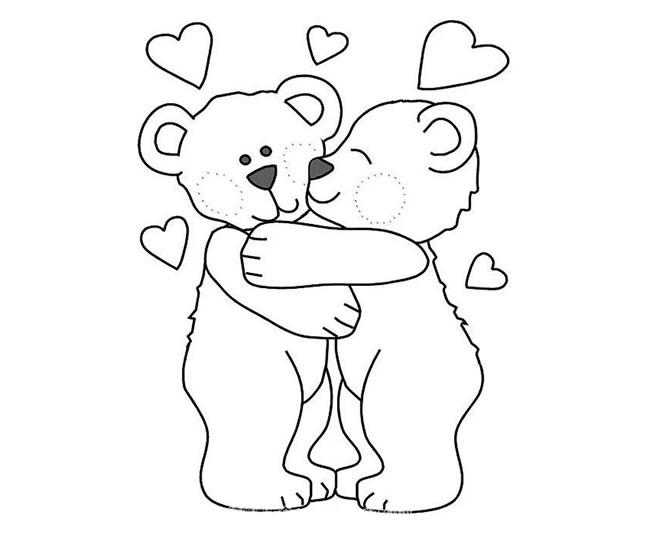 两只相爱的小熊简笔画图片 卡通小熊如何画