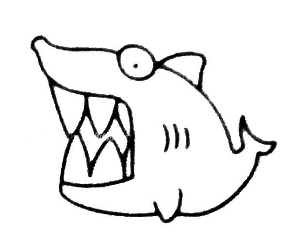 四步画出卡通鲨鱼简笔画步骤图解 卡通鲨鱼如何画