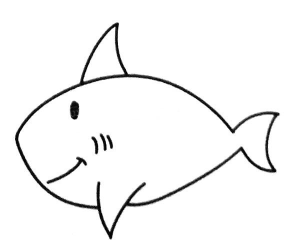6款卡通鲨鱼简笔画图片 不同的鲨鱼简单画法大全
