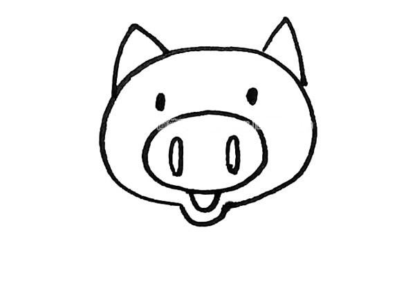 儿童学画可爱的小猪简笔画步骤图解教程