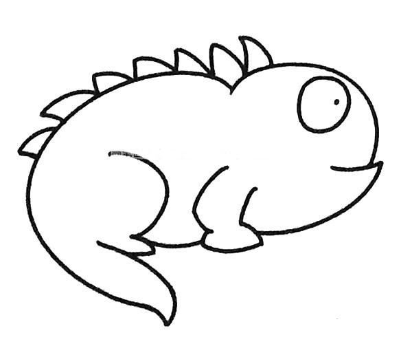 6款可爱的卡通变色龙简笔画图片 简单的变色龙如何画