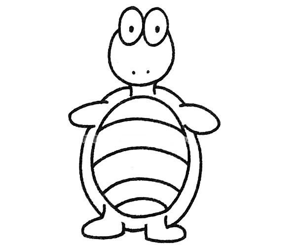 儿童学画卡通乌龟简笔画步骤图解 简单的乌龟如何画