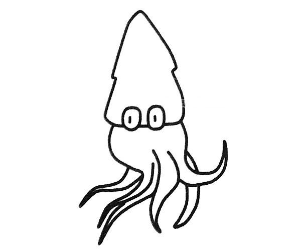 儿童学画鱿鱼简笔画步骤图解 鱿鱼如何画