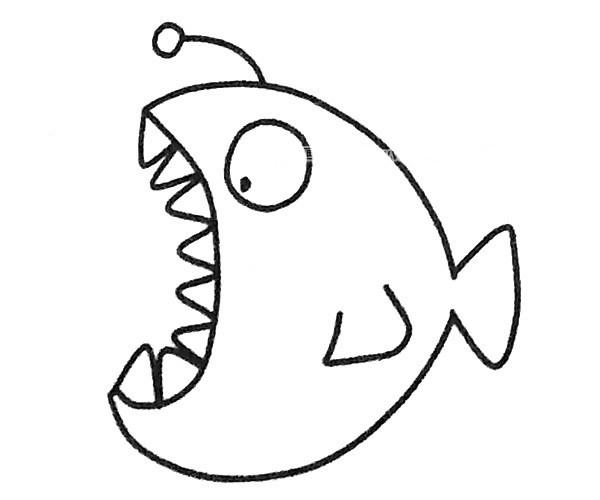 儿童学画灯笼鱼简笔画步骤图解 灯笼鱼如何画