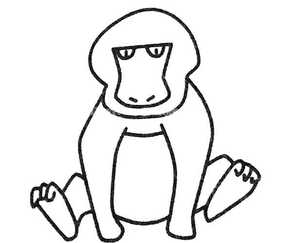 儿童学画狒狒简笔画步骤图解 狒狒如何画