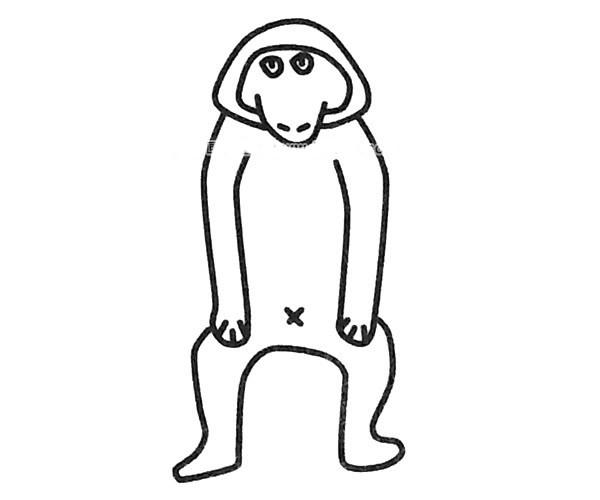 6款可爱的狒狒简笔画图片 狒狒的简单画法大全