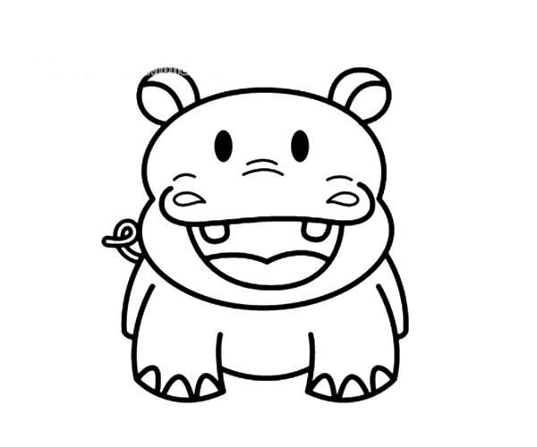5款可爱的卡通河马简笔画图片 卡通河马的简单画法大全