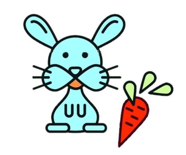 卡通兔子简笔画彩色图片 带颜色的兔子如何画