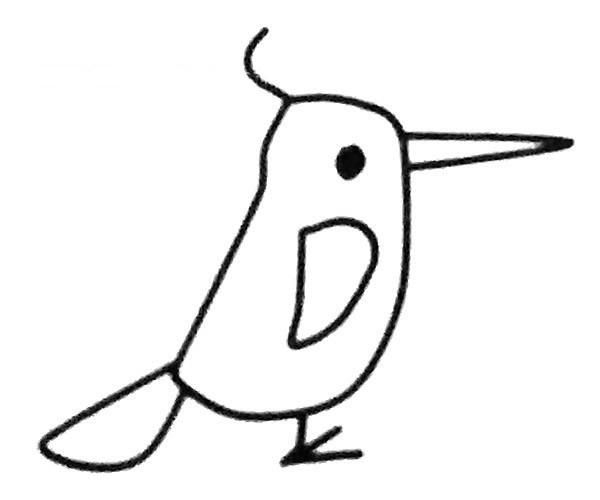 儿童学画啄木鸟简笔画步骤教程 啄木鸟的简单画法