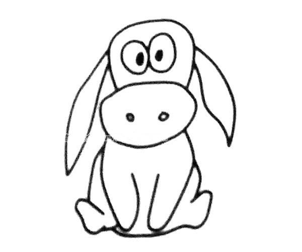 儿童学画呆萌的毛驴简笔画步骤教程 毛驴的简单画法