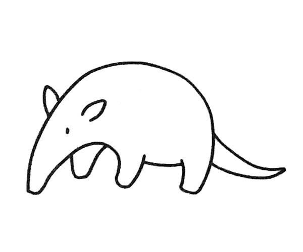 5款食蚁兽简笔画图片 食蚁兽的简单画法大全