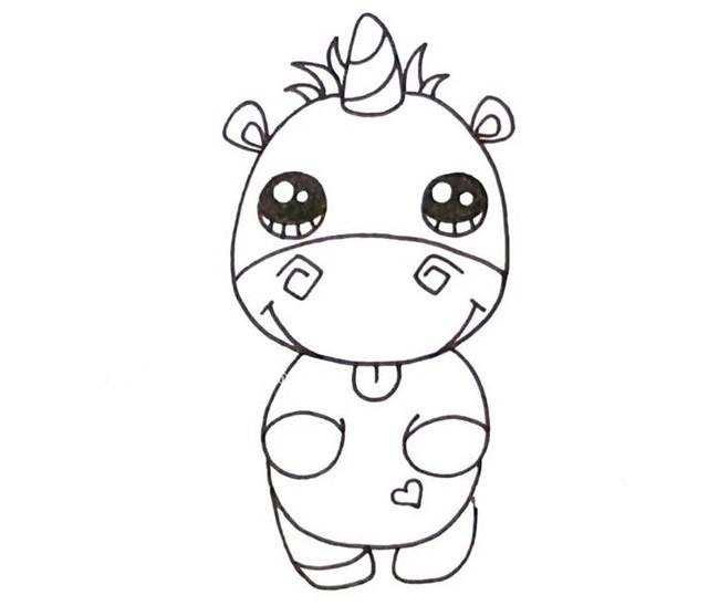 卡通小犀牛简笔画线稿填色版