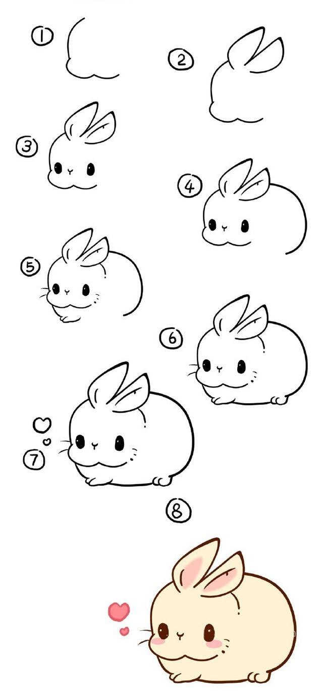 萌萌的小胖兔简笔画步骤图解 小兔子的简单画法
