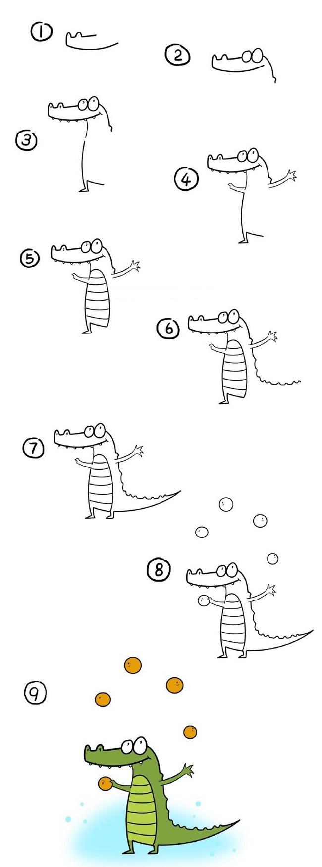 玩杂耍的小鳄鱼简笔画步骤图解 卡通鳄鱼如何画