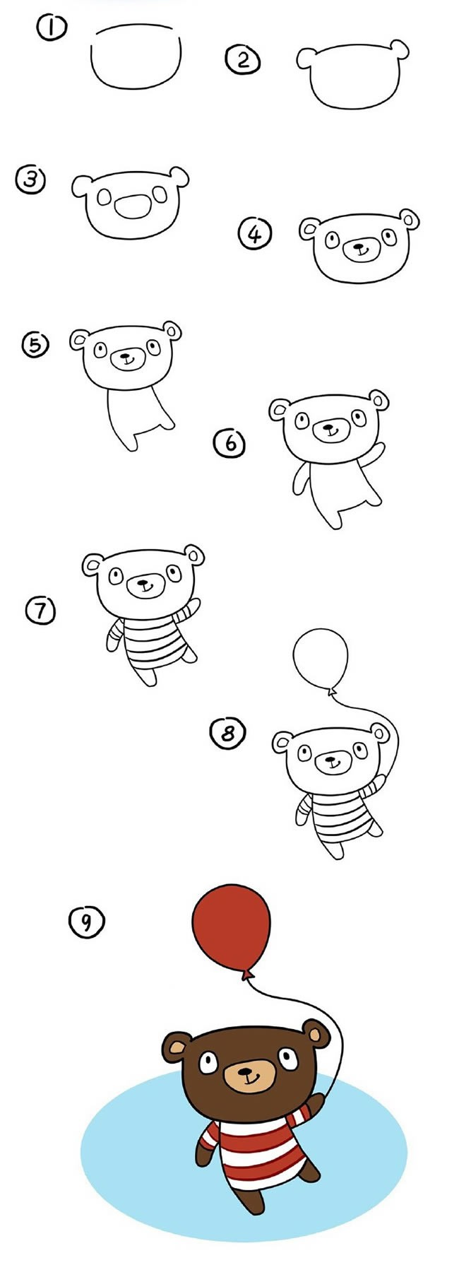 拿起球的卡通小熊简笔画步骤图解 卡通小熊如何画