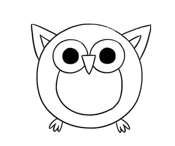 呆萌猫头鹰简笔画步骤教程 猫头鹰的简单画法