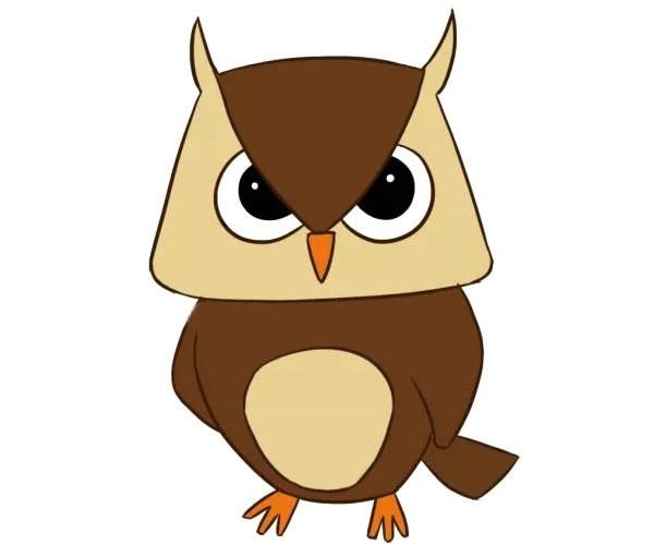 四款可爱的猫头鹰简笔画图片 卡通猫头鹰的简单画法大全