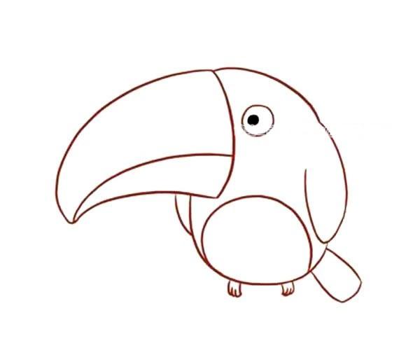 儿童学画可爱的啄木鸟简笔画步骤教程 啄木鸟的简单画法