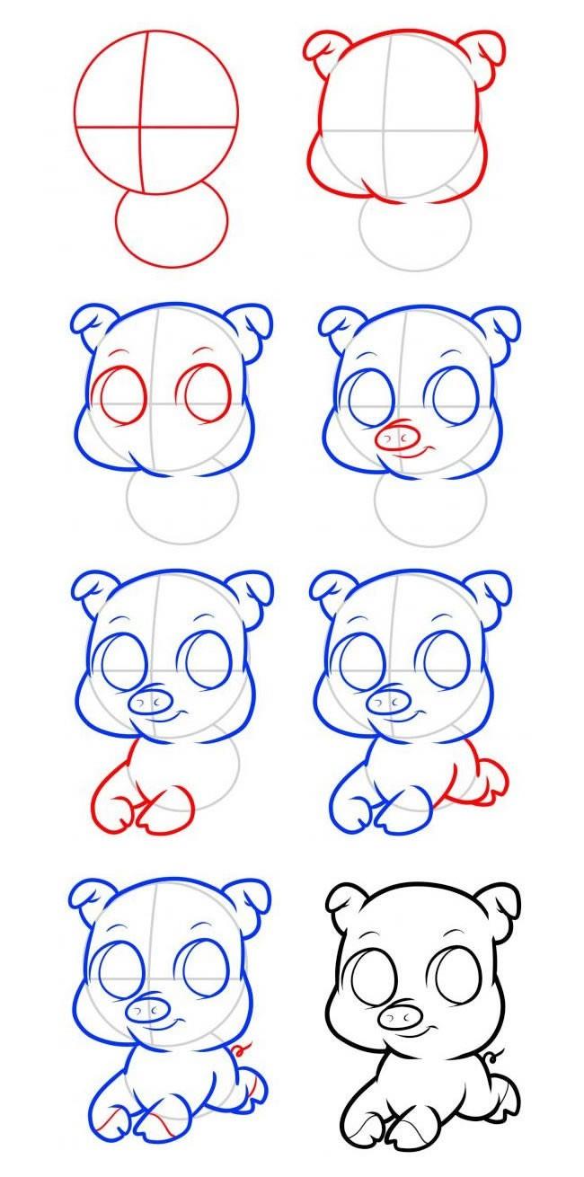 儿童学画可爱小猪简笔画步骤图解教程 小猪如何画