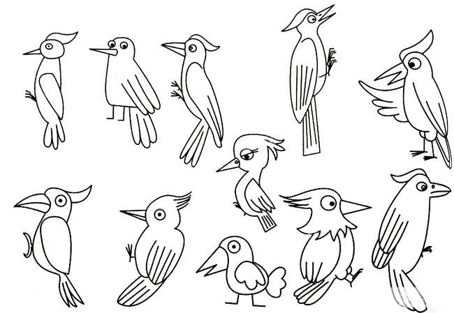 幼儿学画啄木鸟简笔画步骤图解 啄木鸟的简单画法