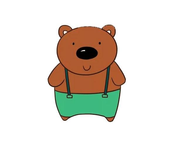 可爱的卡通棕熊简笔画彩色图片