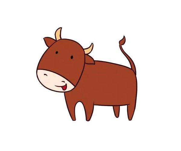 两款可爱的小牛简笔画彩色图片