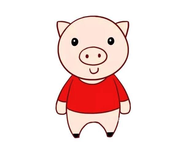 可爱的卡通小猪简笔画彩色画法