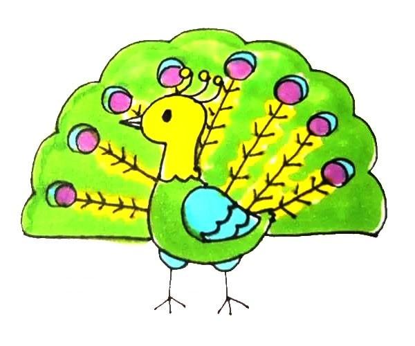 简单的孔雀如何画 儿童学画孔雀简笔画步骤教程