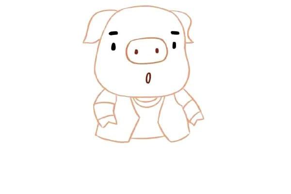 【卡通小猪简笔画】可爱的卡通小猪简笔画步骤图解教程