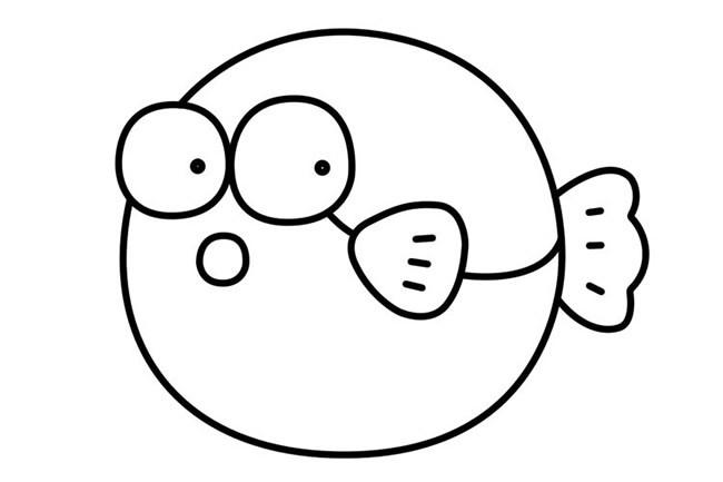 【卡通河豚简笔画】可爱卡通河豚简笔画教学步骤教程