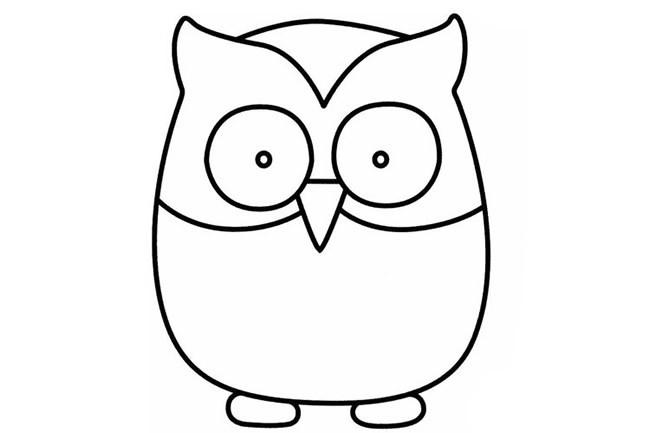 【猫头鹰简笔画】幼儿学画猫头鹰的简笔画步骤教程