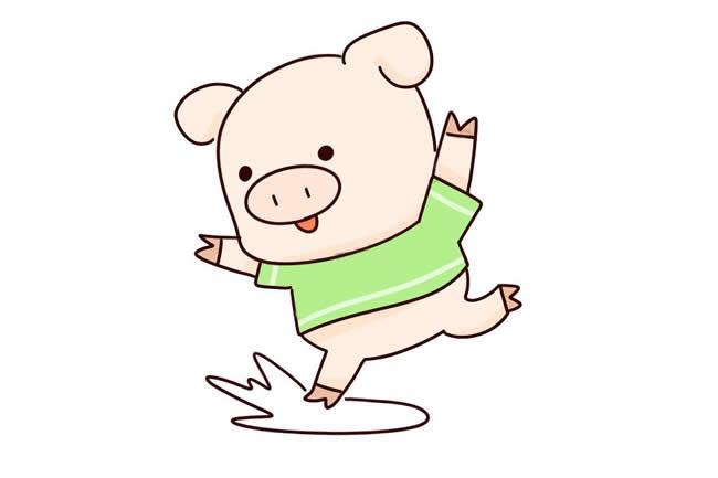 【卡通小猪简笔画】跳跃的小猪简笔画步骤图解教程