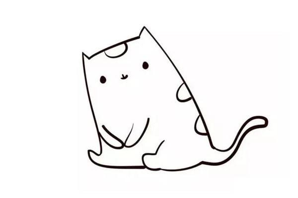小猫钓鱼简笔画画法步骤教程