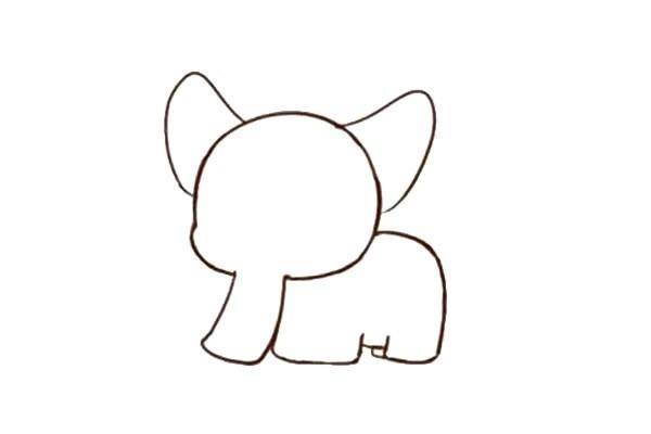 幼儿学画可爱的大象简笔画步骤图教程