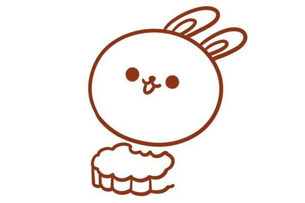 吃月饼的兔子简笔画步骤图片
