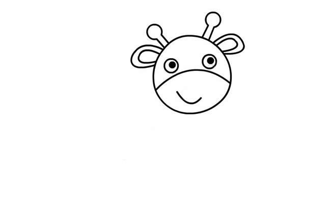 可爱的卡通长颈鹿简笔画步骤图解