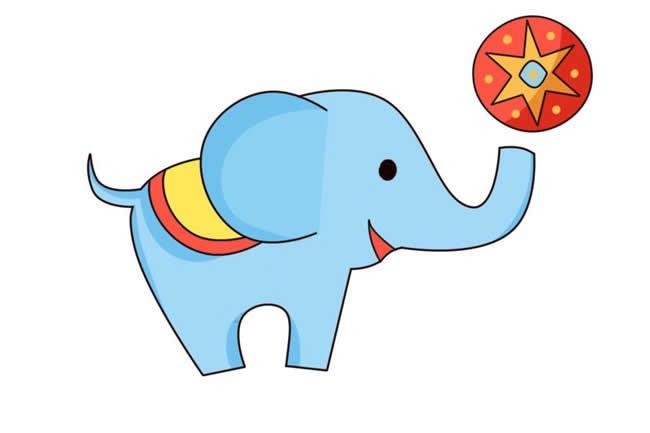 杂技团大象顶皮球简笔画彩色图片