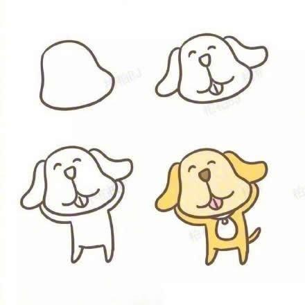 九种小狗狗简笔画图解教程 为孩子们收藏