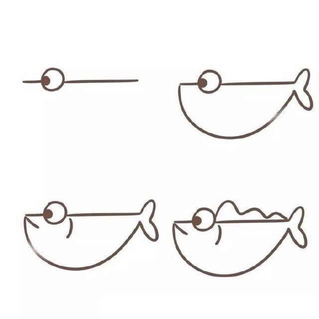 简笔画小鱼儿画法大全 儿童小鱼简笔画图解教程