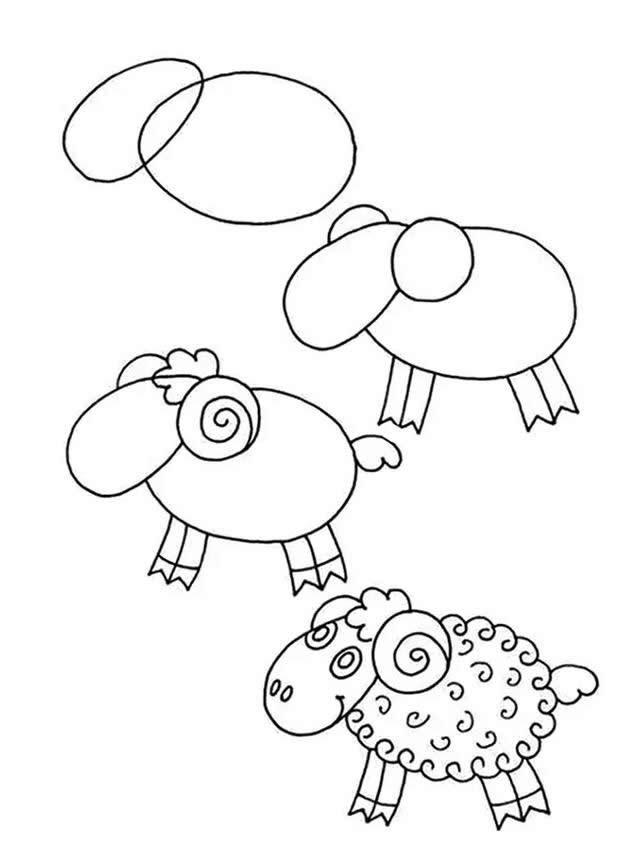几个椭圆就能画好一只小羊简笔画