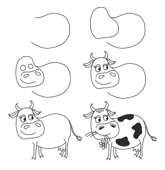 六步学会画奶牛简笔画步骤图解教程
