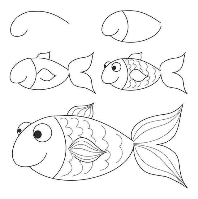 开心的卡通小鱼简笔画步骤图解