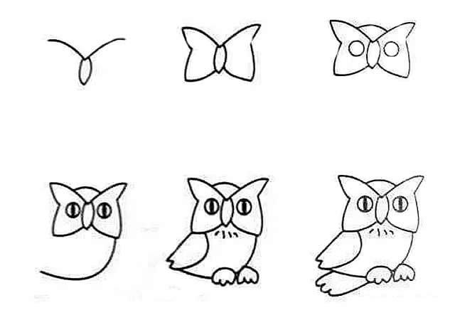 呆萌的动物猫头鹰简笔画 一看就会的画法