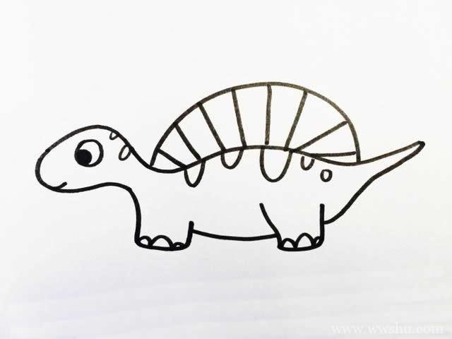 一组恐龙简笔画图片素材 小学生可以收下来