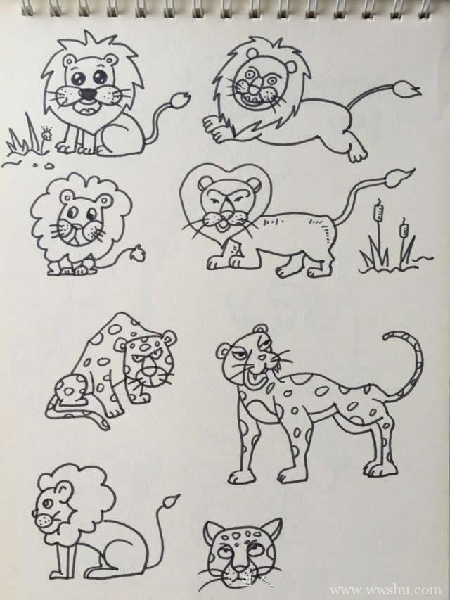 凶猛的卡通狮子简笔画手账素材