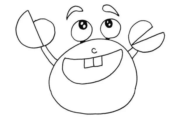 螃蟹简笔画步骤图解教程 卡通螃蟹的画法